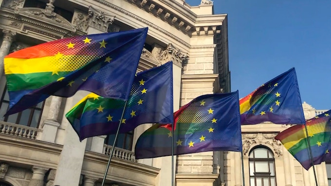 European rainbow flags at Vienna EuroPride 2019