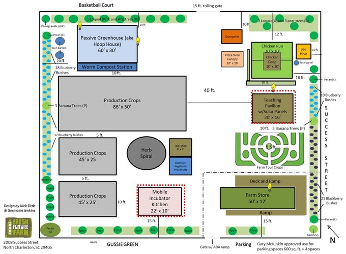 Fresh Future Farm's closed loop community food site plan. Campaign support funds purchase of the land and the infrastructure needed to bring an incubator kitchen and pavilion to the site.