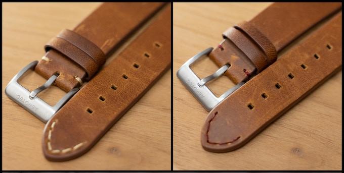 Beige or dark brown stitching