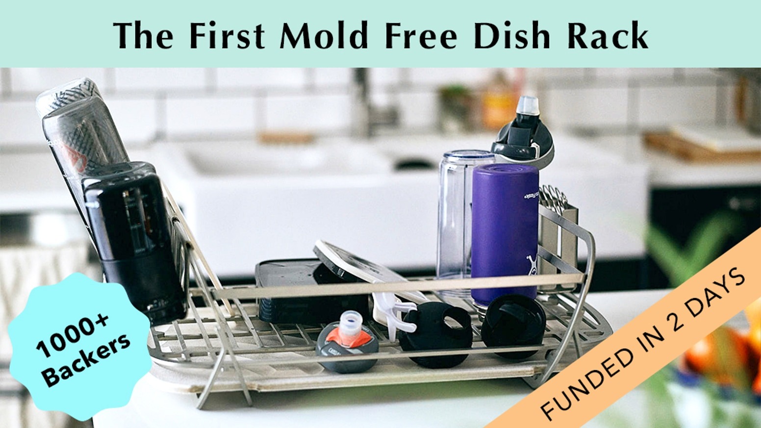 The world's cleanest, self-drying dish rack and dish pad combo that uses Diatomaceous Earth to prevent mold with chic, modern style.