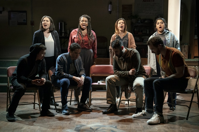 Cast of OCTET. Top row from left to right: Kim Blanck, Starr Busby, Margo Seibert, Kuhoo Verma. Bottom row from left to right: Justin Gregory Lopez, J.D. Mollison, Adam Bashian, Alex Gibson. Photo by Joan Marcus.