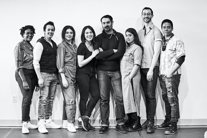 From left to right: Starr Busby, Justin Gregory Lopez, Margo Seibert, Kim Blanck, Adam Bashian, Kuhoo Verma, Alex Gibson, J.D. Mollison. Photo by Gregory Costanzo.