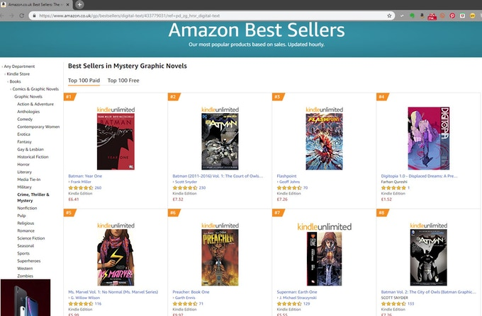 Digitopia hit number 4 in the Mystery Graphic Novels category