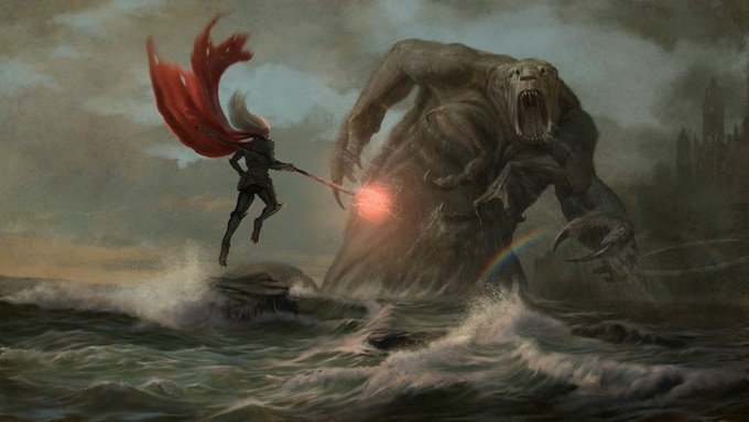 A Selenthean wizard faces off against one of Endroren's abominations. (Art by Russell Marks)