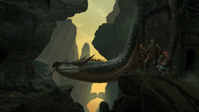 A party of adventurers get more than they bargained for while exploring the ruins Dor Pelethor. (Art by Russell Marks)