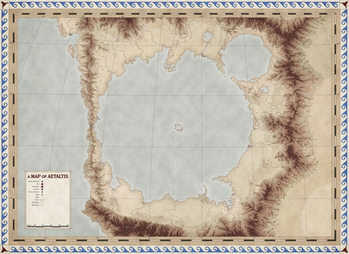 A map of the Amethyst Sea, the primary area of play for World of Aetaltis adventures. (Art by Nate Mangion)