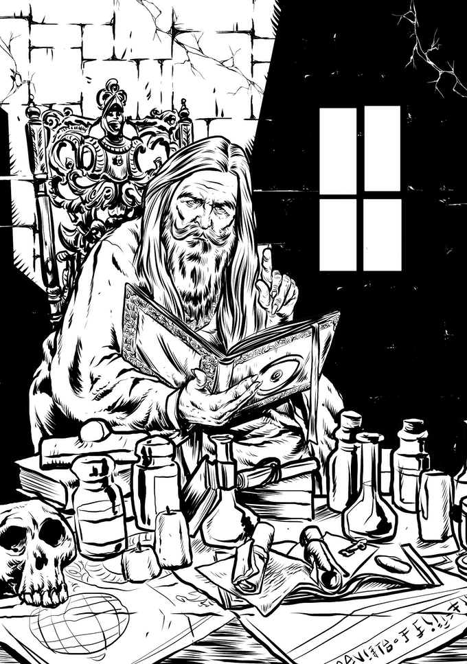 Wizard's study, by Rick Hershey / Fat Goblin Games