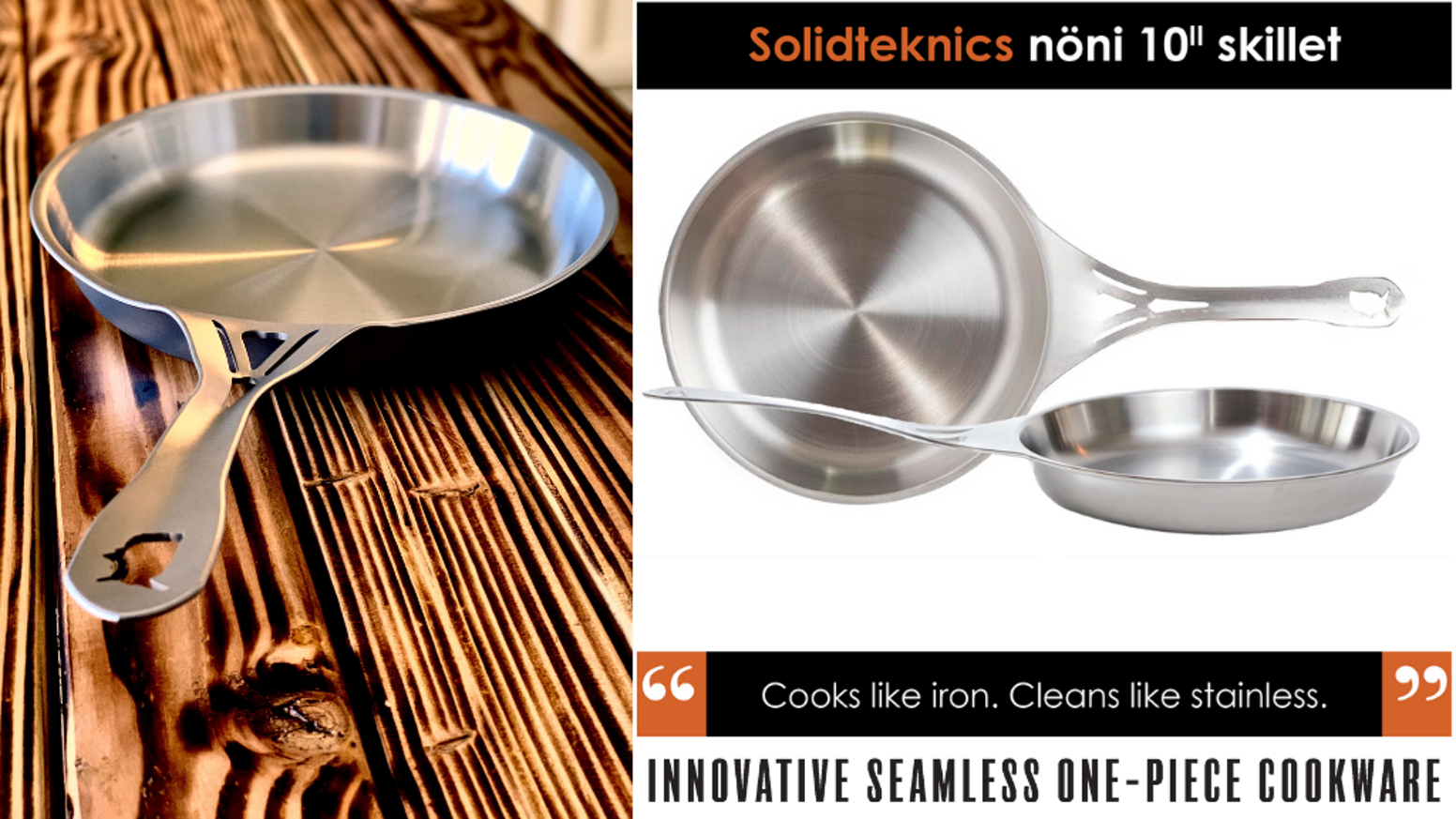 World First - Crafted in Chicago - 100% USA non-Nickel stainless steel. Solid and MORE conductive than clad. Patented. Indestructible.