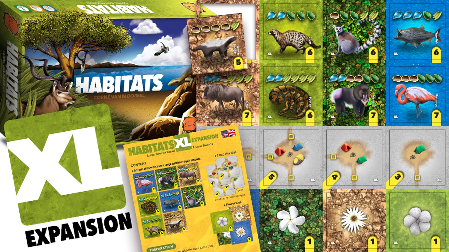 This expansion to HABITATS adds camp sites, flowers, and animals that require larger habitats! With 3 extra game turns!