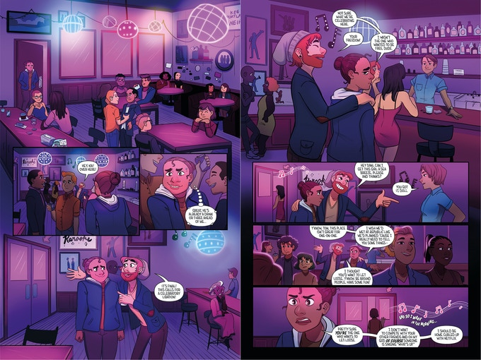 """Pages 2 + 3 – A karaoke bar isn't exactly how Kai wanted to """"celebrate"""" her divorce."""
