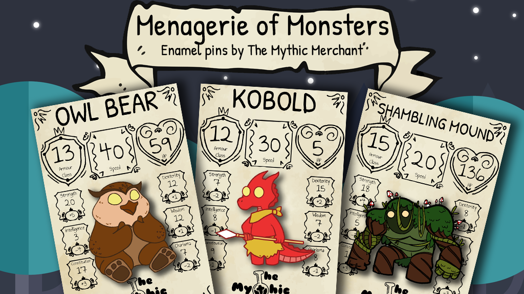 Project image for Menagerie of Monsters Enamel Pins