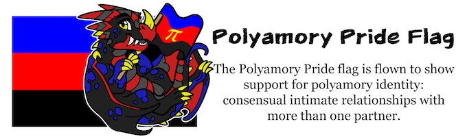 Desi the Dragon is our Pride Pal for the Polyamory Flag. It is flown to show support for polyamory identity: consensual intimate relationships with more than one partner.