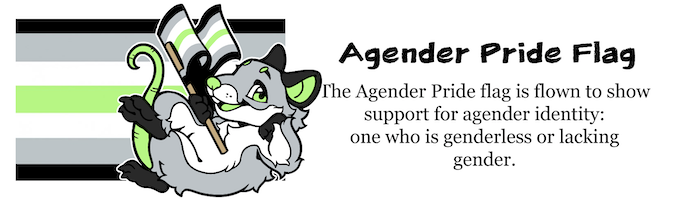 Raz the Rat is our Pride Pal for the Agender Pride Flag. It is flown to show support for agender identity: one who is genderless or lacking gender.