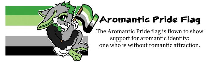 Robin the Rabbit is our Pride Pal for the Aromantic Pride Flag. It is flown to show support for aromantic identity: one who is without romantic attraction.