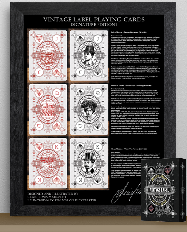 Commemorative Metal Plaque (45cm by 32cm).  Includes 1 x BONUS Signature Edition Private Reserve White Deck + 2 x Giant illustration Card Sets .  Add On $150 AUD.  This commemorative Metal Plaque features signatures on front and back plus holographic seal on back and features court card illustrations with back stories for each character appearing in the Signature Edition Private Reserve Decks.