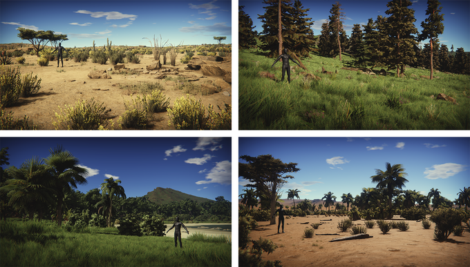 Different types of biomes with different types of vegetation sets.