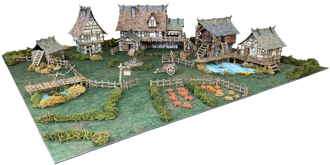 Example of the Village set on a 3'x3' / 90cm x 90cm gaming area