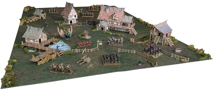 Example of the Village set on a 6'x4' / 180cm x 120cm gaming area
