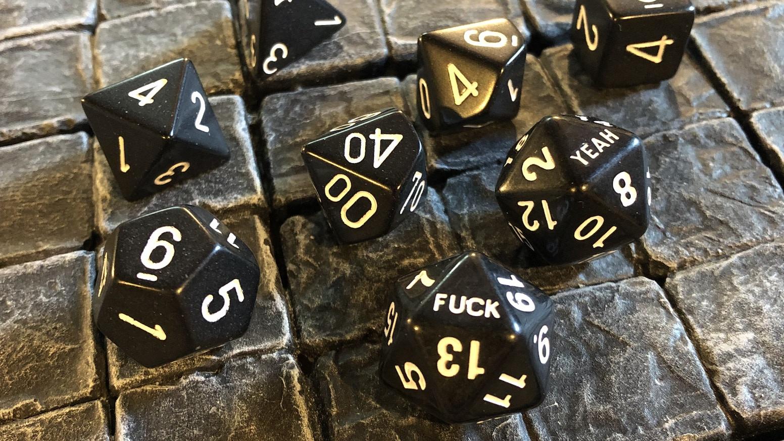 2 D20s per set of black polyhedral dice