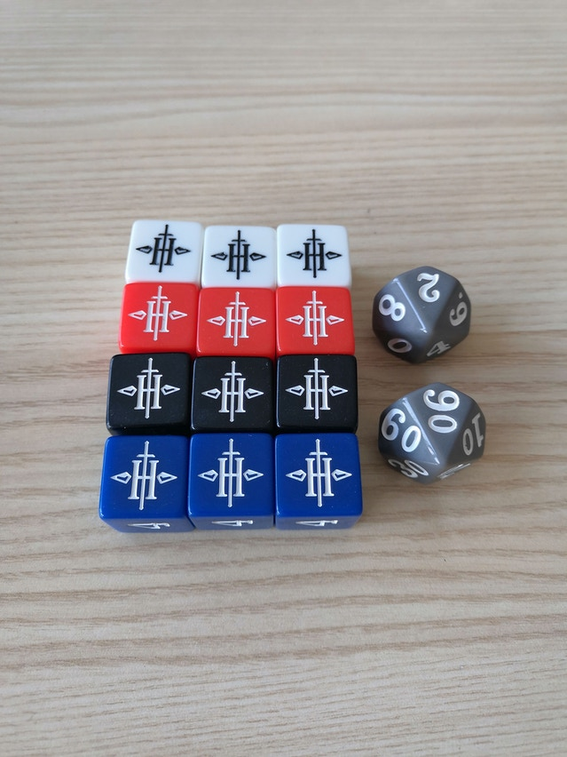 The final design of the official Outbreak dice set.