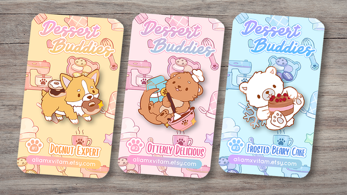 Mock-up with the illustrated backing cards! 🐾