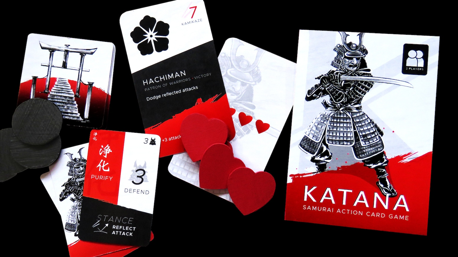A competitive samurai sword-fighting card game for two players.