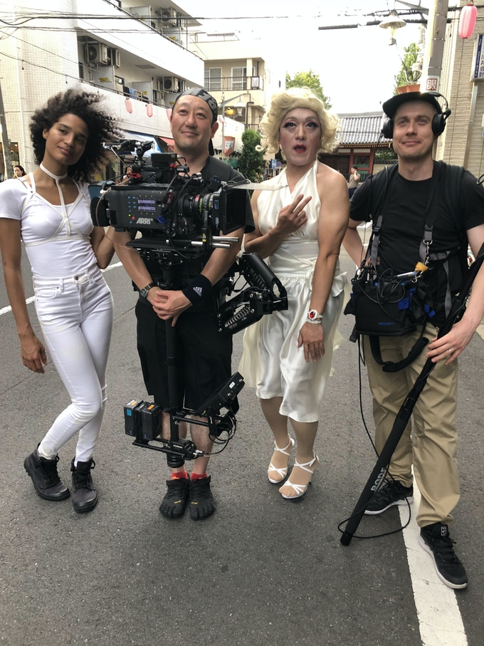 Indya and incredible drag performer Hiroyuki Watanabe with steadicam op Tetsuo and sound recordist Skirmantas