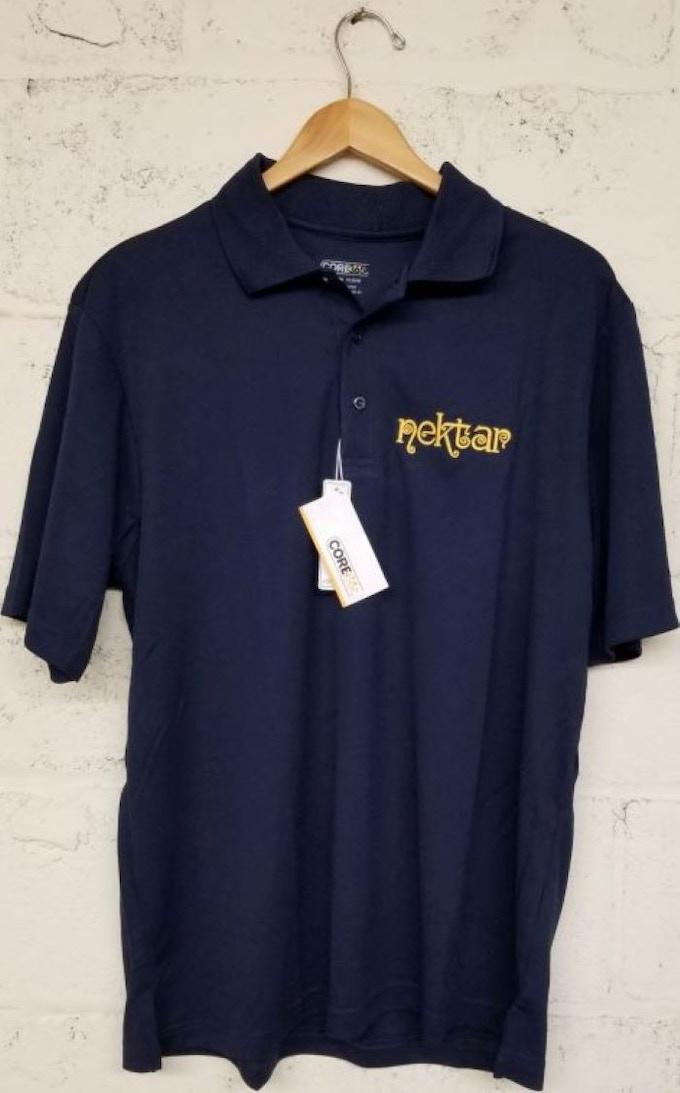 Embroidered Blue Polo Shirt with Classic Nektar Logo