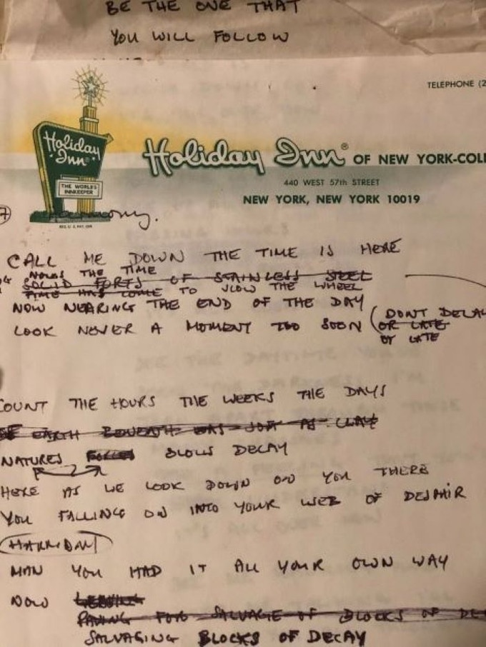 Original Handwritten Nektar Lyrics that includes all notes and cross-outs