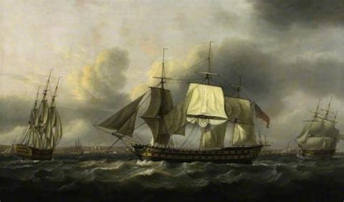 The Earl of Abergavenny East Indiaman, off Southsea, 1801, Artist: Thomas Luny (1759-1837). Copyright: Thomas Luny / The British Library