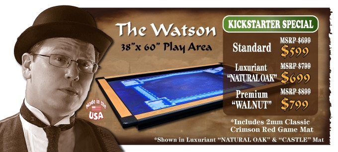 The Watson 38 x 60 play area shown in Luxuriant Natural Oak w/ Castle Mat (Click picture to see game orientations)