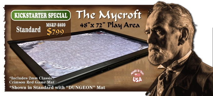 (Click picture to see game orientations) Note: The New Mycroft now consists of 2 - 24 inch halves (the Moriarty) and a 24 inch leaf to make the 4 x 6 play area (The Mycroft). You can also add an additional leaf to make it 4 x 8 ft (Mycroft XL). You do not need an accessory rail with this model as it would only create 24 x 48 mini topper.