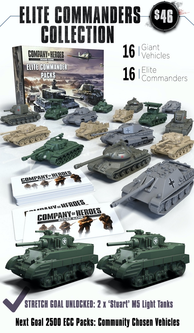 The big boys of the armored divisions! Featuring the elite specialty vehicles and commanders that we could not fit into the Core Set. Featuring 2 unique vehicles for each nation faction. Includes the King Tiger, JagdPanther, IS-3 Heavy Tank, KV-2 Assault Tank, British Comet Tank, Sexton Motorized Artillery, US Pershing Heavy Tank and the US Sherman Calliope.  Along with 2 variations of each Commander to unlock new abilities and upgrades. Note: We have also unlocked the Sherman Fireflies!!