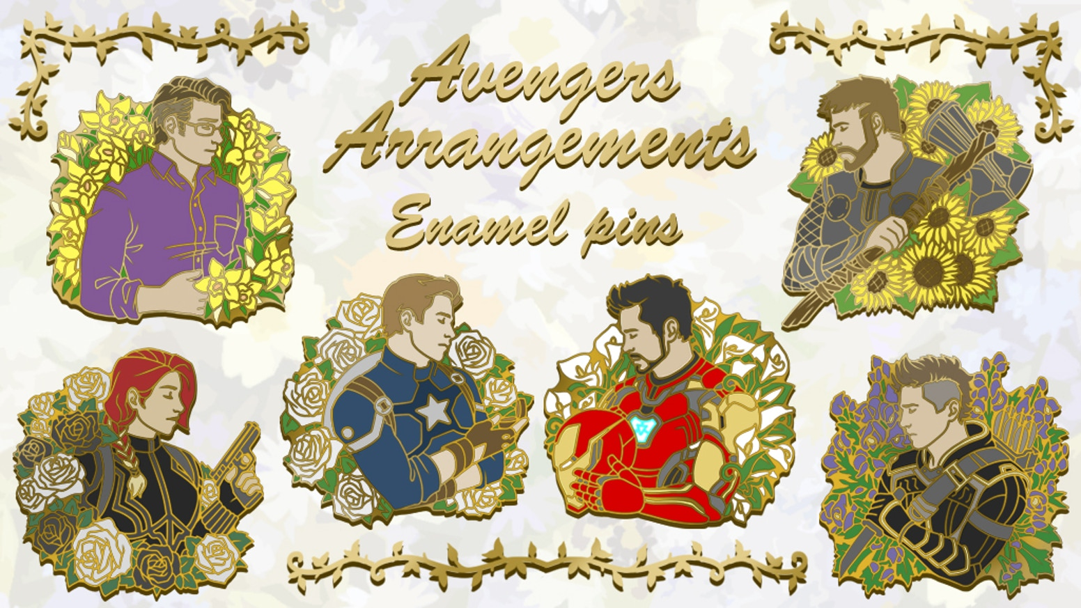 """Avengers Arrangements"" is a set of hard enamel pins featuring our favorite MCU heroes and their flower languages."