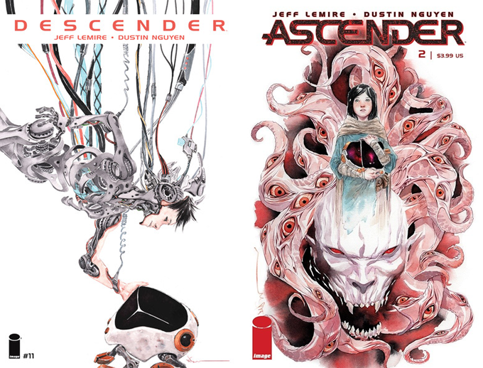 I think this clue was too big. Descender available in trade & HC. Ascender available now at your local comic shop.