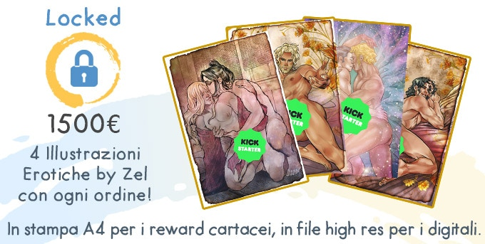 Four bonus erotic pieces by Zel with every pledge: A4 prints for the physical books and hi-res files for the digital rewards.
