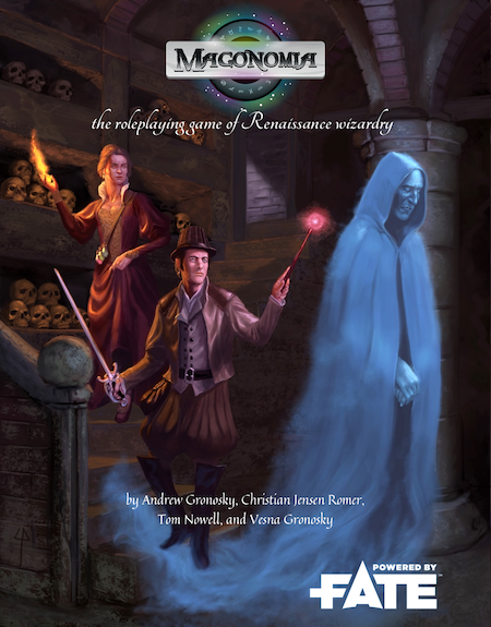 Cover artwork for Magonomia by Claudio Pozas. A sorcerer and an alchemist follow a ghostly apparition into a crypt.
