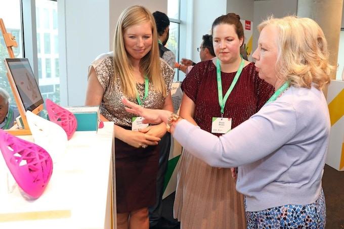 Deborah Meaden speaks to Sam and Rosie at a Design Council Spark showcase at Design Museum, June 2018
