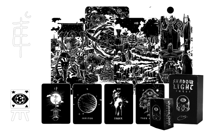 Two hand-illustrated black & white Premium Tarot Decks exploring the 22 Paths, Four Elemental Realms, & Extended Archetypes of the Tarot through Infinite Panoramic Suits.