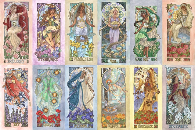 Click the image to view the completed series of Birthstone Goddesses (formerly known as the Ladies of the Months).