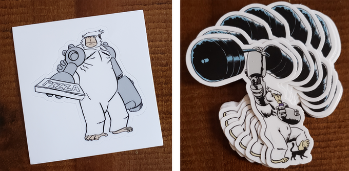 """On the left is the Pablo pizza delivery sticker, but randomly packed in sticker inclusive tiers will be the """"Got This"""" variant on the right!"""