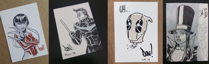 Some original sketchcard samples for you (Agent Wild, Nightwing, 'Pool & Zatanna)