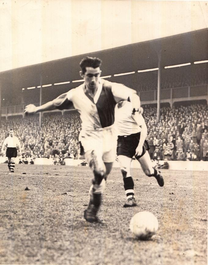Roy Vernon strikes the ball for Blackburn Rovers