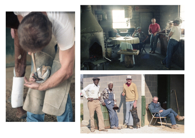 Photos by groom Clarke Otte. Clockwise from left: ferrier David Wood shoes a horse; workers in the old Churchill Downs blacksmith shop; Bimp, Tommy Long, Centerfield Slim, and Ferris in front of a barn
