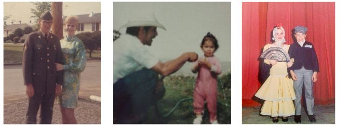 L-R: Kenny Luckett, proprietor of Luckett's Tack Shop, as a young man; groom Cristobal Resendiz Trejo with his daughter; assistant trainer Maria Sol Aller as a child in Argentina. All three are contributors to the book.