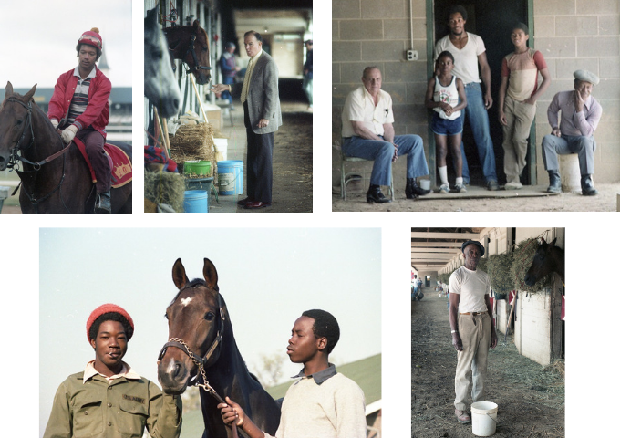 Backside photos by groom Clarke Otte. Clockwise from upper left: exercise rider PJ;  veterinarian and horse owner Doc Harthill; groom Sam Dixon, exercise rider Willard Pinkston, and others with a horse owner;  groom Percolator Bates; grooms Mo and James Albert