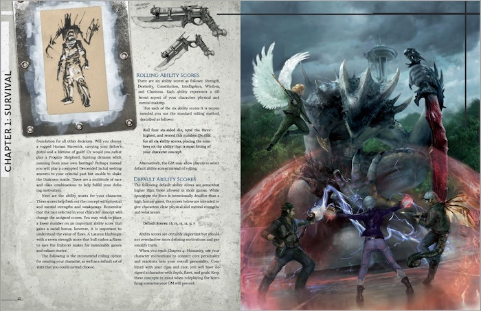 Found art, sketch weaponry, and full page color scene!