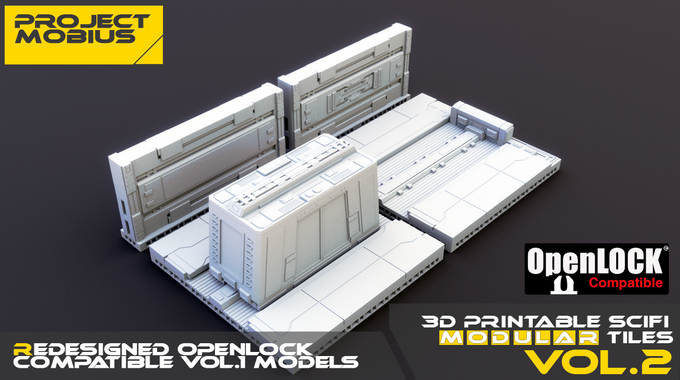 Redesigned the shuttle bay, 2 walls and resized the shuttle from the Vol.1 models to be OpenLOCK compatible. (included in Deluxe pledges)