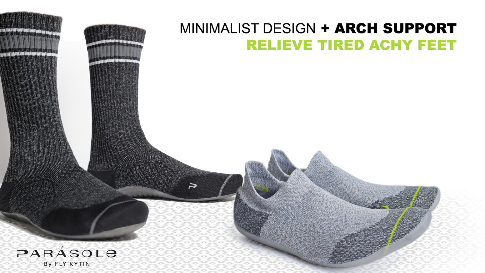Arch Support in the Comfort and Freedom of a Sock: Relieves Foot Fatigue. 360° Breathability, Anti-Odor, Sustainable.