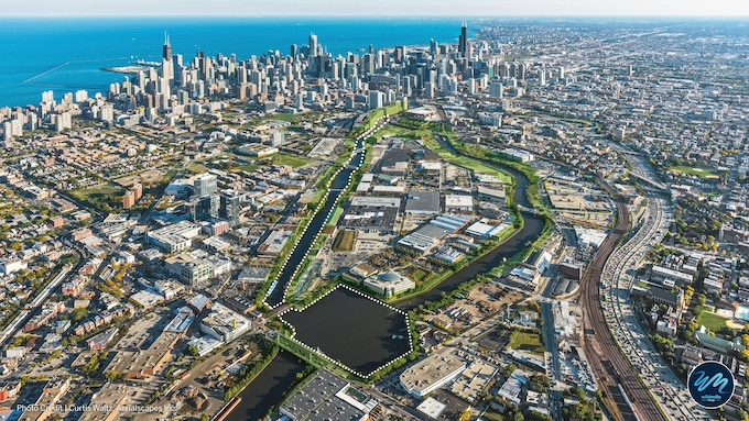 Aerial view of the future Wild Mile, indicated by the dotted white lines.